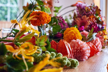 Close Up Of Color Variety Flowers On Table
