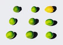 Overhead View Of Limes And Lemon