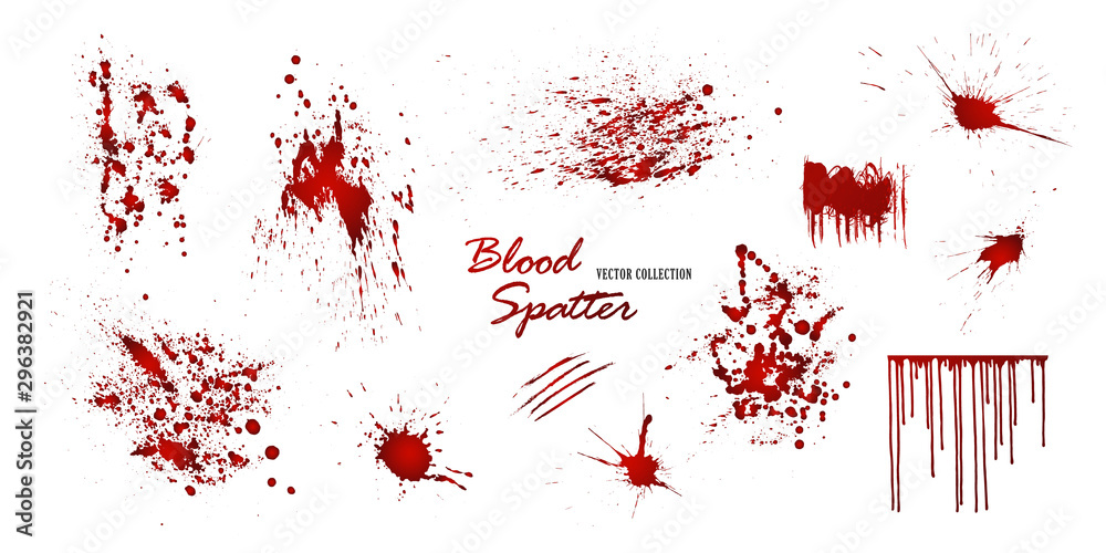 Fototapeta Set of various blood or paint splatters isolated on white background. Happy Halloween decoration,horrible blood drops, creepy splash, spot.Vector illustration