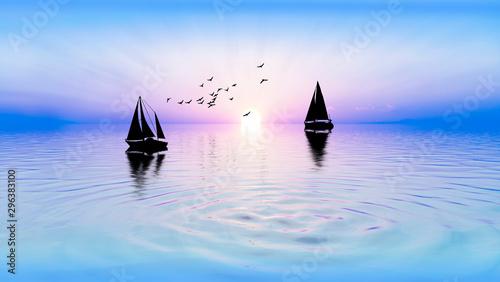 veleros en el mar al atardecer Fototapeta