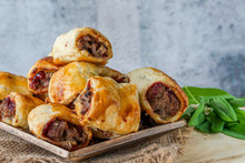 Homemade Sausage, Cranberry, Chestnut And Sage Rolls