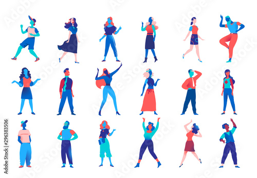Obraz Collection of vector male and female characters for character animation. Company men women avatars isolated on white background. Vector illustration - fototapety do salonu