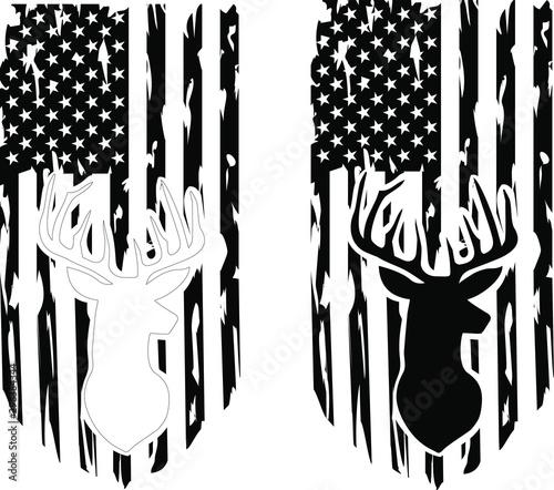 Distressed American deer hunting Flag Wallpaper Mural