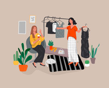 Girls Choose Outfits In Wardrobe, Drink Wine And Laugh, Shopping And Relaxing. Daily Life And Everyday Routine Scene In Scandinavian, Style Cozy Interior With Homeplants. Cartoon Vector
