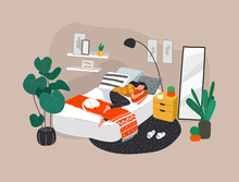 Sweet Girl Sleeping In Bed With Relaxing White Cat . Daily Life And Everyday Routine Scene By Young Woman In Scandinavian, Style Cozy Interior Bedroom With Homeplants. Cartoon Vector