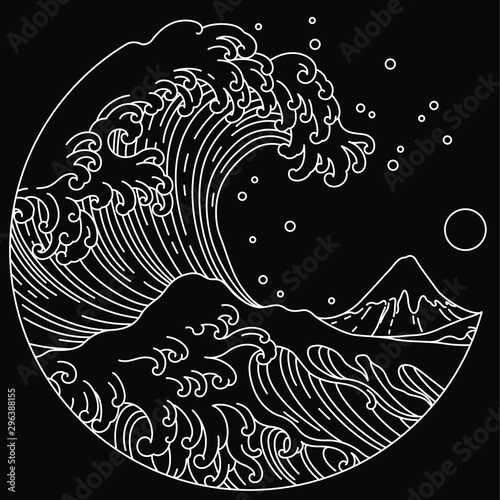 Fényképezés Japanese great wave line art in round shape illustration