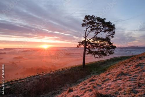 Martinsell Hill Misty Sunrise Fototapet