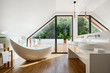 Leinwanddruck Bild - Elegant attic bathroom with bathtub