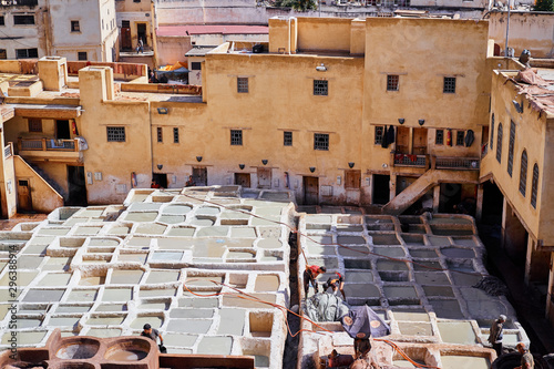 Tanneries of Fes, Morocco, Africa Old tanks of the Fez's tanneries with color paint for leather, Morocco, Africa. The 21st of October 2018.