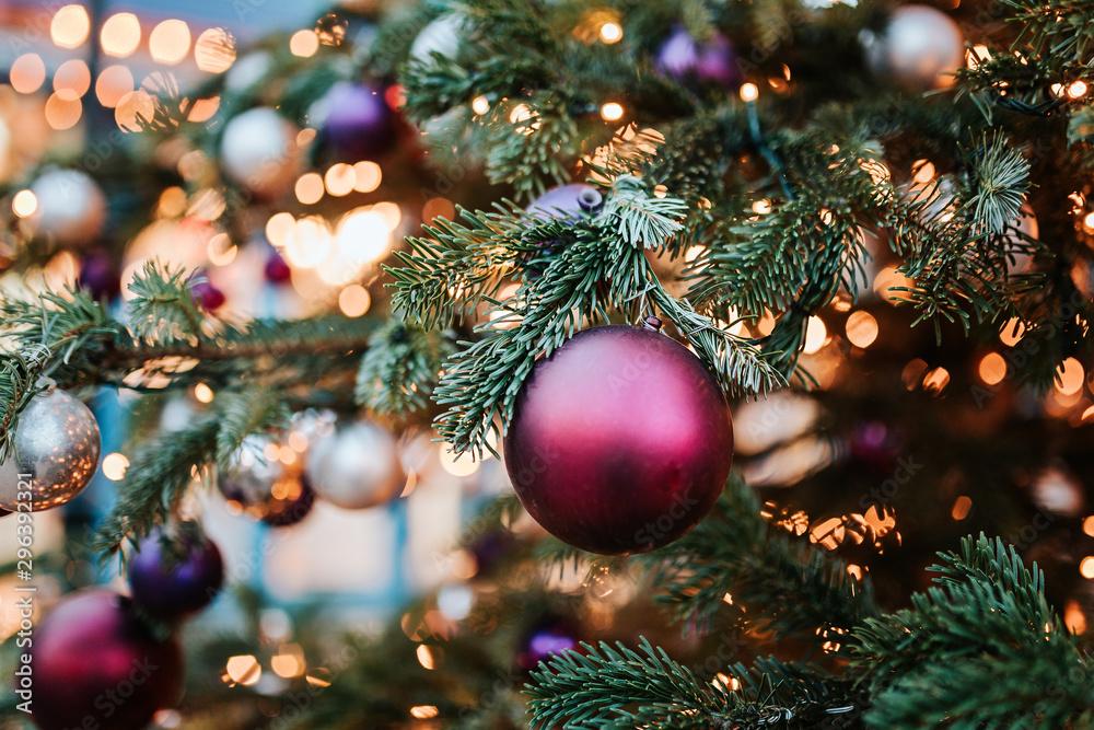 Fototapety, obrazy: Lights on Christmas tree in Copenhagen