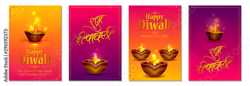 Fotografie, Tablou  Happy Diwali light festival of India greeting banner background for Sale and Pro