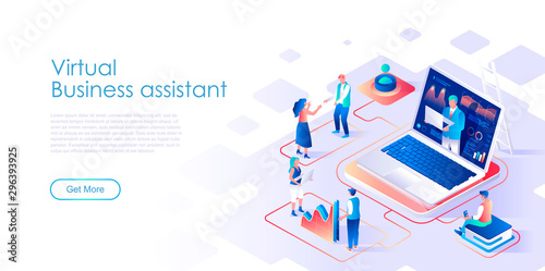 Fotografía  Virtual business assistant isometric landing page vector template