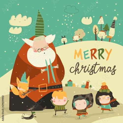 Funny Santa Claus celebrating Chistmas with cute kids
