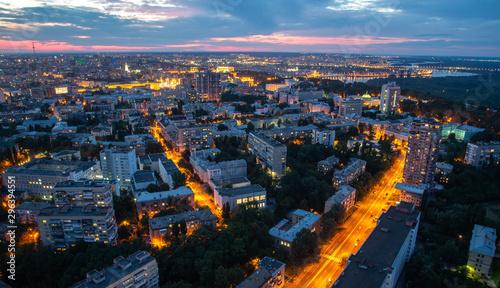 Montage in der Fensternische Kiew Kyiv cityscape at night, Ukraine
