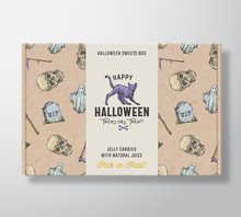 Halloween Sweets Pattern Realistic Cardboard Box With Banner. Abstract Vector Packaging Design Or Label. Hand Drawn Ghost, Scull, Tomb, Scythe, Cat Sketches. Craft Paper Background Layout.