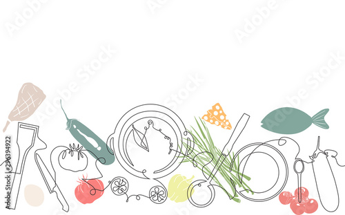 Fototapeta Background with Utensils and Food