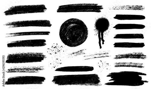 Fotografie, Obraz Brush strokes templates,  vector grunge paintbrush set