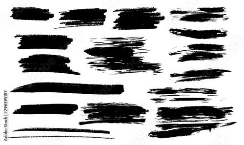 Fototapeta Brush strokes templates,  vector grunge paintbrush set