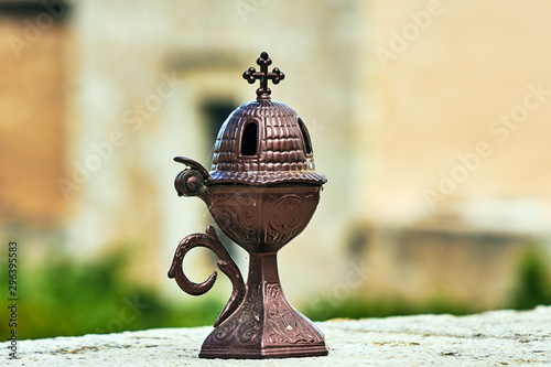 Fotografie, Tablou Brass, small censer in an Orthodox monastery on the island of Crete