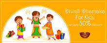 Indian Kids Celebrating Diwali Light Festival Of India Banner Background For Sale And Promotion Advertisement In Vector
