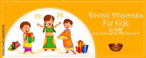 Vászonkép  Indian kids celebrating Diwali light festival of India banner background for Sal