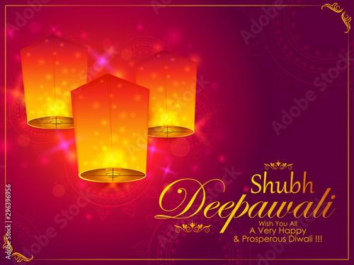 Vászonkép  Happy Diwali light festival of India greeting background in vector