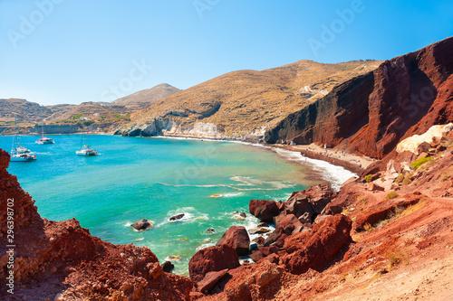 Fototapeta Red beach on Santorini island, Greece. Summer landscape, sea view. Famous tourist destination obraz