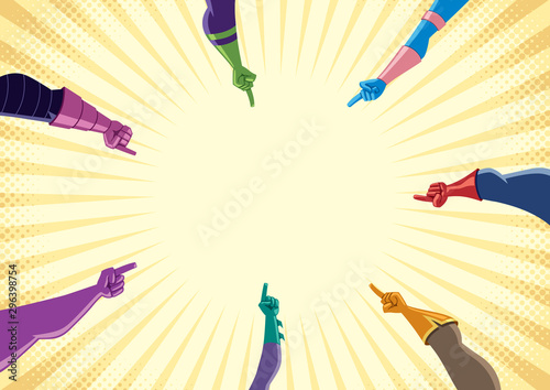 Photo Superhero Hands with Pointing Fingers