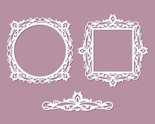 Laser Cut Photo Frame. Decorative Round And Square Template. Vector Geometric Vintage Metal Border. Oriental Ornamental Lace, Silhouette Of Wedding Invitation Card. Circular Pattern In Arabesque Style