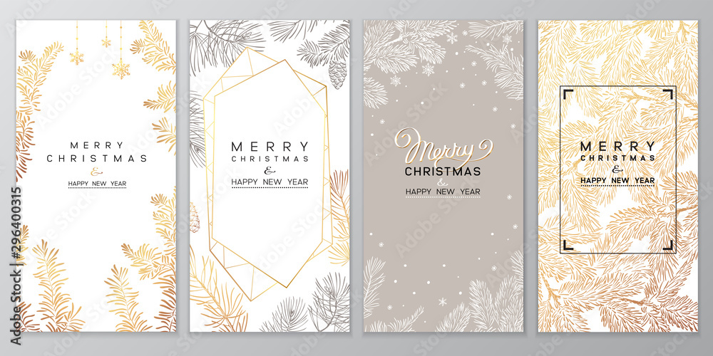 Fototapety, obrazy: Christmas Poster set of Christmas Background with golden branches of christmas tree.