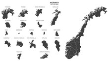 Political Map Of Norway Isolat...