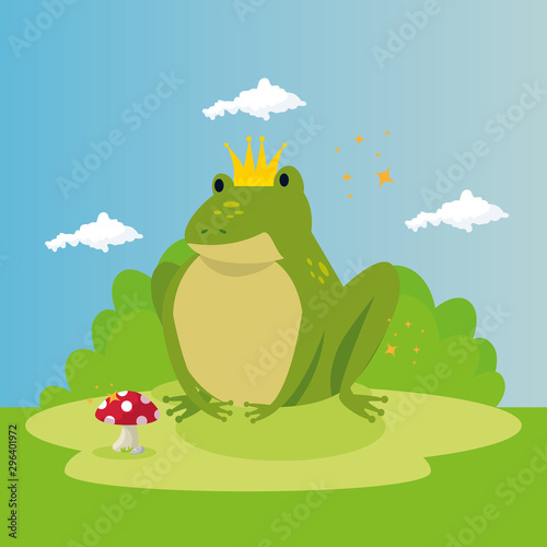 cute toad in scene fairytale vector illustration design