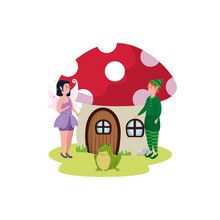 Magic Fairy With Elf And Home Fungus Vector Illustration Design