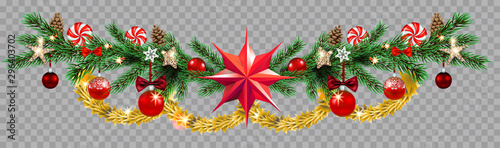 Fotobehang - Decorative border with fir and balls