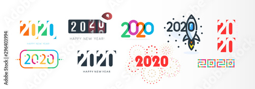Fototapeta New Year diverse unusual sign set for 2020 event decoration, logo graphic, creative emblem concept for banner, brochure, flyer, calendar, greeting card, event invitation. Isolated vector logotype. obraz