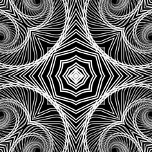 Geometric Fractals Black And White Vector Seamless Pattern. Abstract Ornamental Fractal Lines Background. Repeat Geometrical Backdrop. Modern Tribal Ethnic Style Line Art Tracery Textured Ornaments.