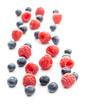 Leinwandbild Motiv Blueberries and raspberries. Tasty mix of berries.