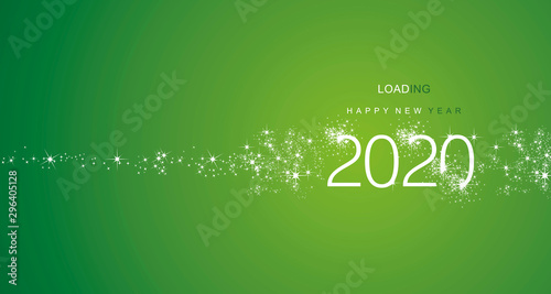 Obraz New Year 2020 greetings loading firework white green color vector - fototapety do salonu