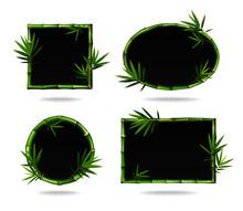 Green Bamboo Frames. Leaves An...
