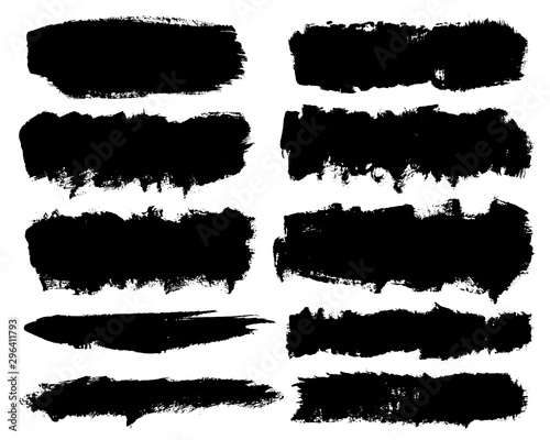 Pinturas sobre lienzo  Vector set of hand drawn brush strokes, stains for backdrops