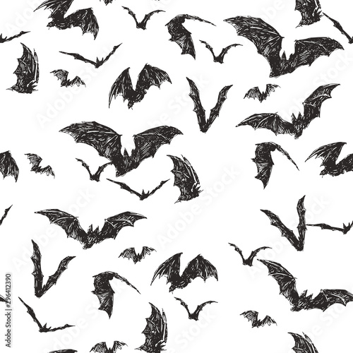 Fotografiet Vector seamless pattern with flock of bats isolated on white
