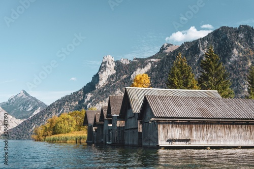 Lake boathouse with a mountain view to the alps Canvas Print