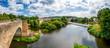 Blick von der Bartenwetzerbrücke über die Fulda in der Stadt Melsungen, Hessen, Deutschland