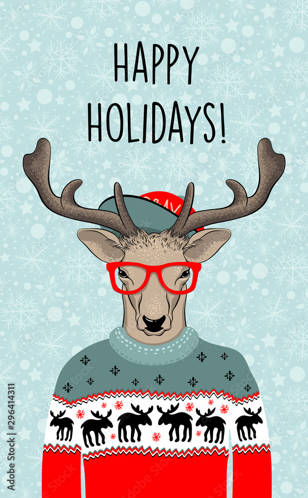 Fototapety, obrazy: Hand drawn vector illustration of Christmas deer in green sweater . Hipster in glasses and hat. Vector illustration