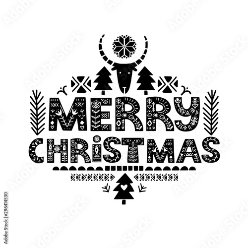 Fototapeta  Lettering Merry Christmas in ethnic folk style.