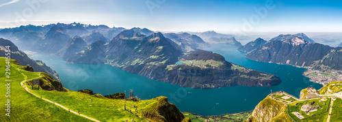 Obraz Fantastic view to Lake Lucerne with Rigi and Pilatus mountains, Brunnen town from Fronalpstock, Switzerland, Europe - fototapety do salonu