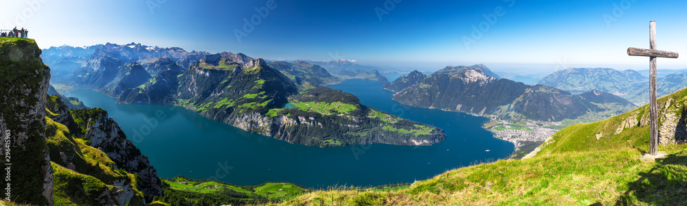 Fototapety, obrazy: Fantastic view to Lake Lucerne with Rigi and Pilatus mountains, Brunnen town from Fronalpstock, Switzerland, Europe