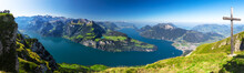 Fantastic View To Lake Lucerne With Rigi And Pilatus Mountains, Brunnen Town From Fronalpstock, Switzerland, Europe