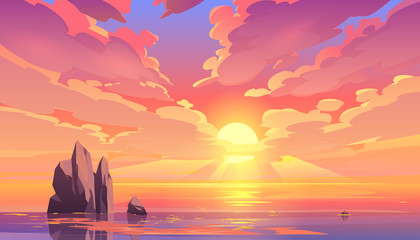 Fototapeta Morze Sunset or sunrise in ocean, nature landscape background, pink clouds flying in sky to shining sun above sea with rocks sticking up of water surface. Evening or morning view Cartoon vector illustration