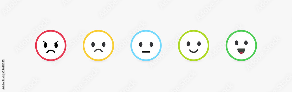 Fototapeta Set of vector emoticons with different emotions. Feedback scale, customer review and assessment of goods or services quality. Round emoji with bright colorful contour, vector flat illustration.
